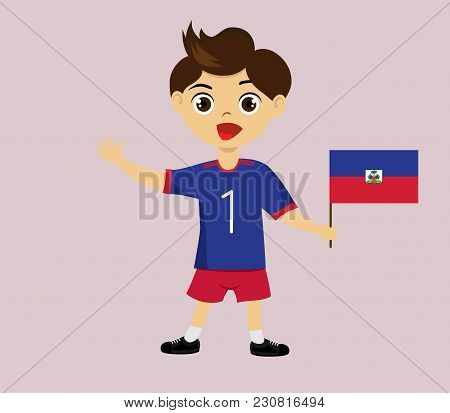 Fan Of Haiti National Football, Hockey, Basketball Team, Sports. Boy With Haitiflag In The Colors Of