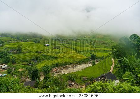 Picturesque Landscape Of High Mountain Village Among Rice Terraces And River. Nature Background. Vie