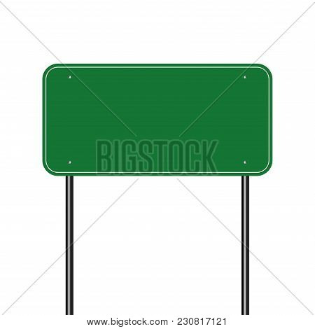 Sign Road Green,sign Board Black On White Background.vector Illustration