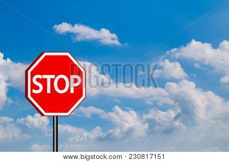 Stop Sign Traffic Signs,red Stop Sign In Blue Sky Background