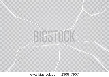 The Surface Texture Is Cracked On Ice, Isolated On A Transparent Background. Vector Illustration. Br