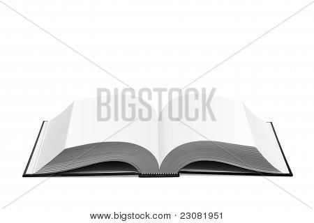 Open white book isolated
