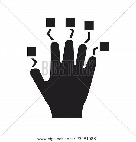Hand Controller Black Silhouette Icon. Vr Hand Controller Vector Illustration On White Background. E