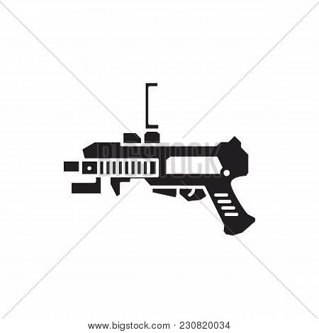 Virtual Reality Weapon Black Silhouette Icon. Vr Gun Vector Illustration On White Background. Elemen