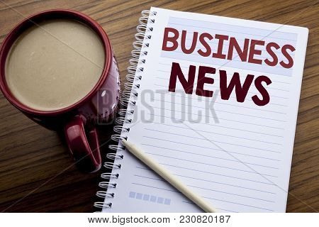 Hand Writing Text Caption Inspiration Showing Business News. Business Concept For Modern Online News