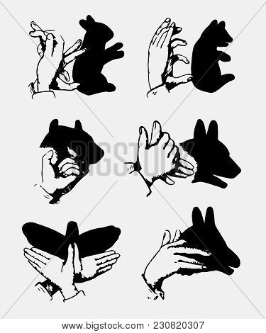 Hand Drawn Hands And Shadows Vector For T Shirt Printing And Embroidery, Graphic Tee And Printed Tee