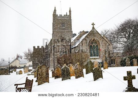 Drewsteignton, Devon, United Kingdom, 01/03/2018:- Snow Covered Church During The Beast From The Eas