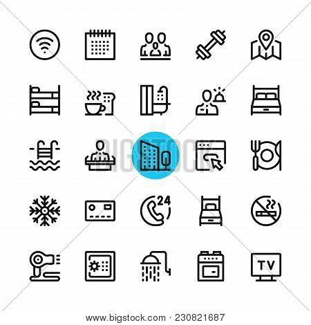 Hotel Facilities, Hotel Services Line Icons Set. Modern Graphic Design Concepts, Simple Outline Elem
