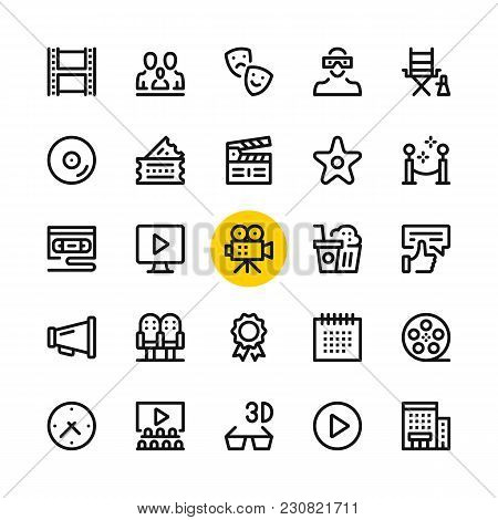 Cinema, Film Industry, Video Production Line Icons Set. Modern Graphic Design Concepts, Simple Outli
