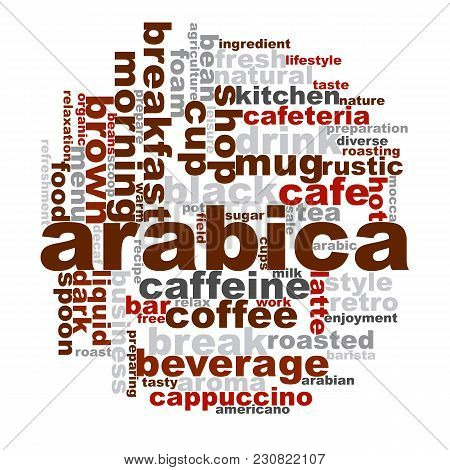 Arabica Word Cloud. Creative Illustration Of Idea Word Lettering Typography . 3d Rendering.