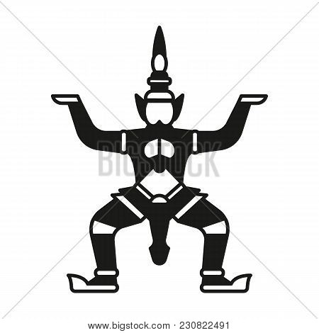 Giant Statue Silhouette Icon. Thailand Giant Statue Vector Illustration Isolated On White Background