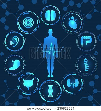 Medical Health Care, Human Organs, Virtual Body Hi Tech Diagnostic Panel, Medicine, Clinic Researche