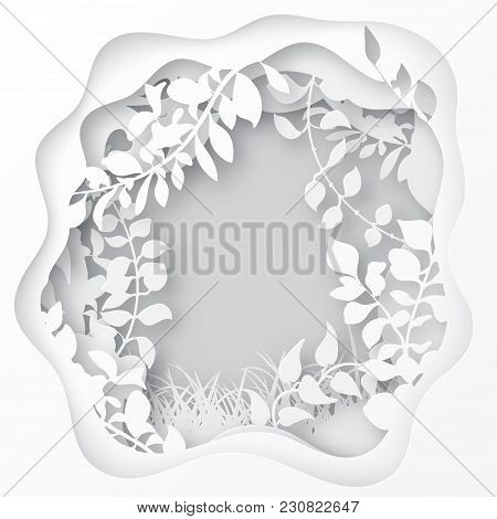 Paper Art Spring Or Summer Forest With Grass, Tree Branches With Leaves, Trees Covered With Climbers