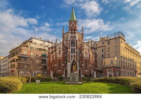 Milan, Italy - December 11, 2016: The Sanctuary Of San Camillo De Lellis Or Of The Madonna Della Sal