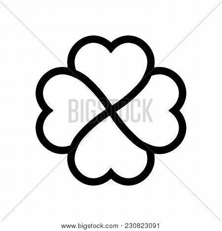 Shamrock Symbol. Fourleaf Clover Black Vector Outline.