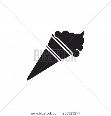 Ice Cream Icon. Silhouette Illustration Of Ice Cream In Cone Vector Icon For Web And Advertising