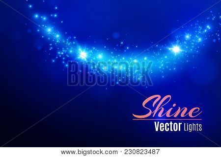 Blue Sparks And Stars Glitter Special Light Effect. Sparkling Magic Dust Particles.light Flare Speci