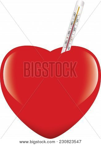 Heart With Heat Measuring Thermometer Heart With Heat Measuring Thermometer