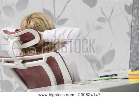 Tired Neck. Young Office Worker Woman Suffering From Neck Pain. Female Feeling Tired, Exhausted, Str