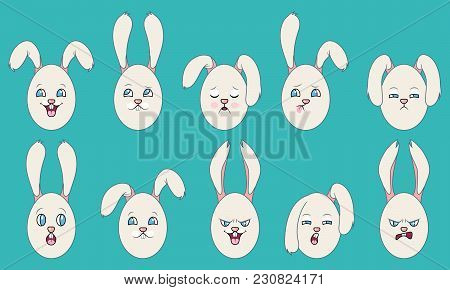 Set Of Emotions Of Easter Eggs With Ears - Illustration Vector