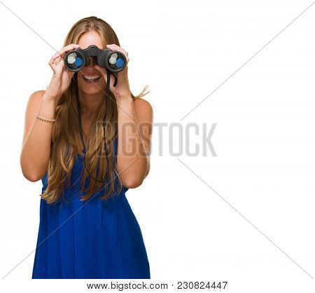Woman Looking Through Binocular Isolated On White Background