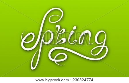 Spring Lettering, Calligraphic Text On Ggreen Background, Headline Pattern - Illustration Vector