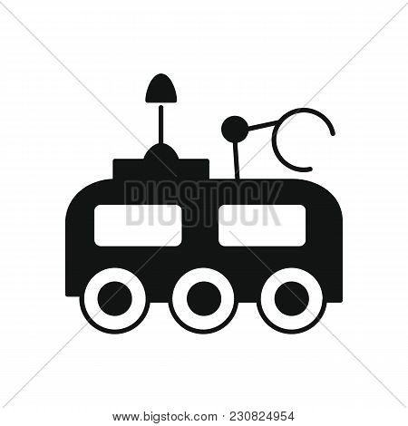 Moon Rover Icon In Silhouette Style. Space Illustration With Moon Rover In White Background. Element