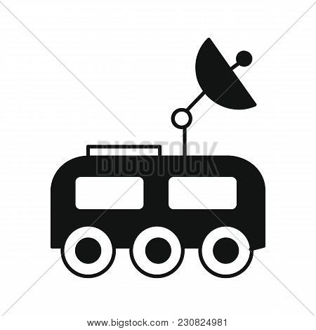 Mars Rover Icon In Silhouette Style. Space Illustration With Marsrover In White Background. Element