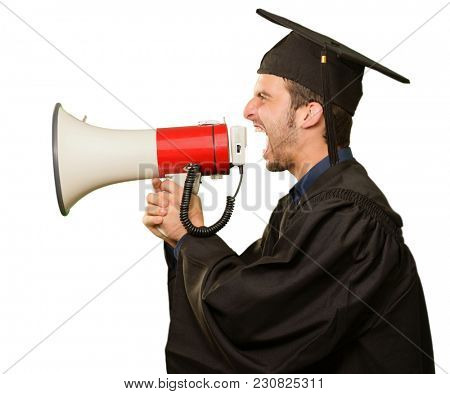 Graduate Man Shouting Into The Megaphone On White Background