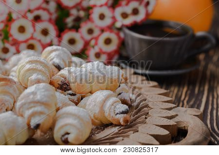 Mini Croissants On A Wooden Table,bagels With A Cup Of Coffee On A Wooden Table,bagels On A Wooden T