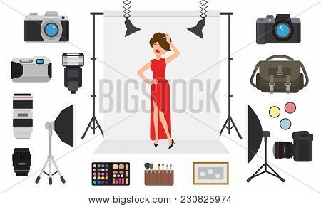 Photography Vector Photographing Model Character By Professional Photo Camera And Shooting Photograp