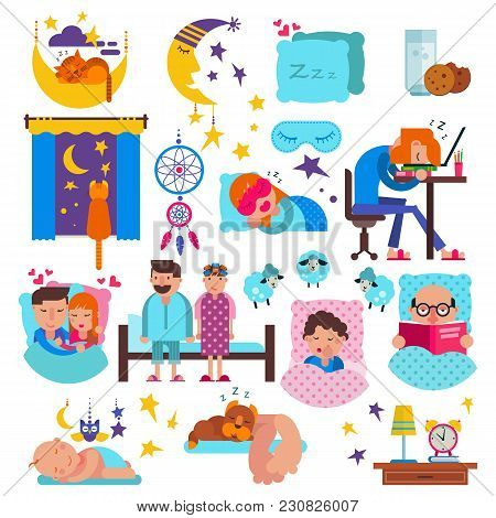 Sleeping People Vector Sleepy Cartoon Characters And Pets Sleep On Pillow In Bed Overnight Illustrat