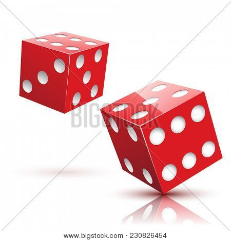 Two red Dices on a white background. Gambling icon.  Illustration