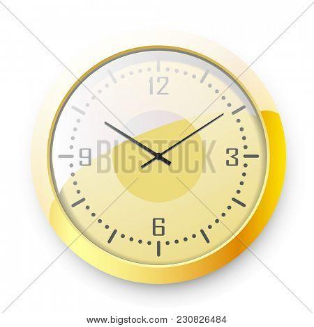 Golden wall Clock on white background.  illustration.