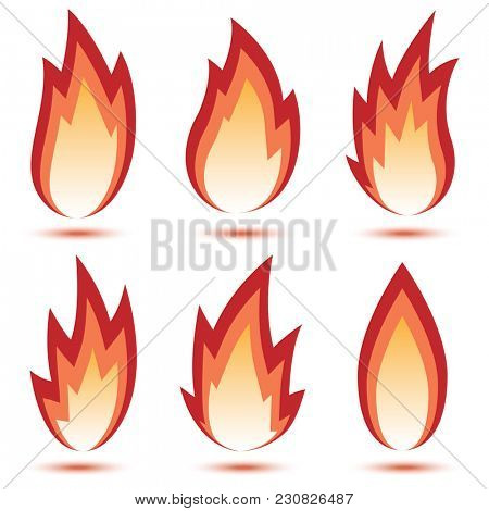 Abstract Red Flame Icon set isolated on a white background. Illustration.