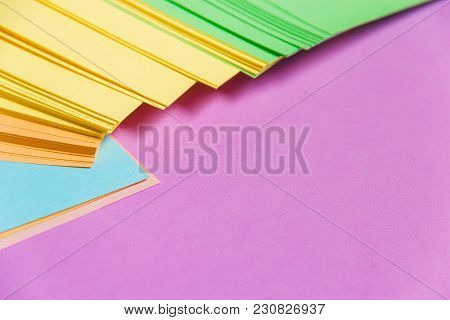 Stationary, Stack Of Blank Colored Sticker On Lilac Board. Time-management, Planning