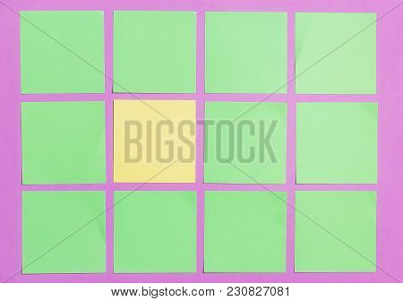 Stationary, Blank Green Orange Sticker On Lilac Board. Flat Lay. Top View. Time-management, Planning