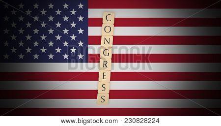 Usa Politics News Concept: Letter Tiles Congress On Us Flag, 3d Illustration