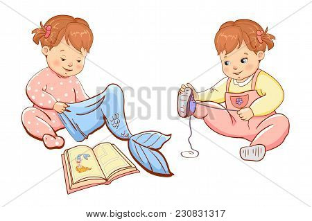 Little Cute Girls Playing. Two Cute Little Children Girls. Vector Illustration.