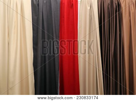 Colorful Silky Fabric Textures Used For Drapes