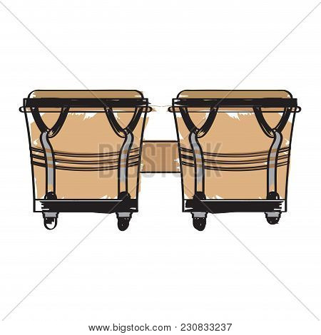 Pair Of Bongo Drums Icon. Musical Instrument. Vector Illustration Design