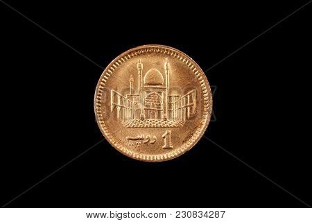A Super Macro Image Of A 1 Pakistani Rupee Coin Isolated On A Black Background