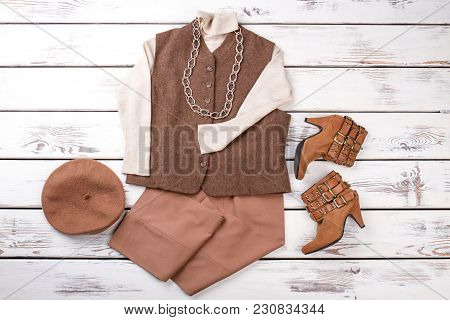 Set Of Brown Women Outlet With Necklace. Brown Wool Felt Beret Hat. Pair Of Boots.