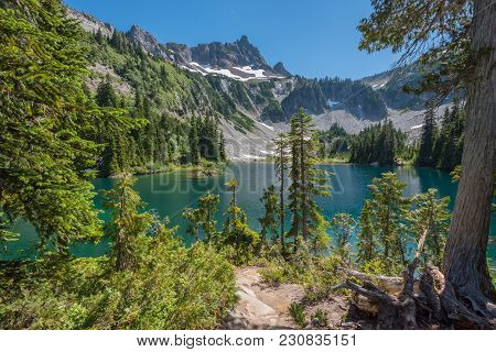 Snow Lake From Backcountry Campsite In Mount Rainier National Park