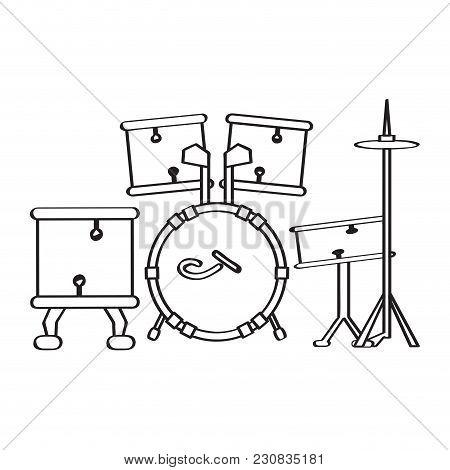 Drum Set Icon. Musical Instrument. Vector Illustration Design