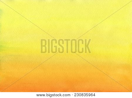 Clean Warm Watercolor Background Uniform Gradient Mixing Of Cadmium Yellow, Orange And Titian Red