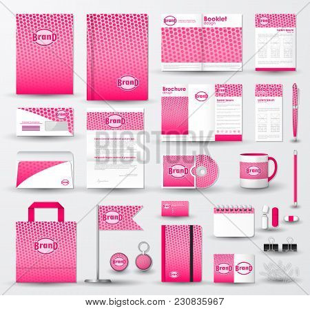 Corporate Identity Template Set. Business Stationery Mock-up With Pink Halftone Effect On  Blurred B