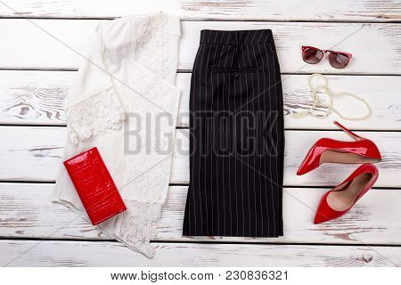 Woman's Accessories Flat Lay On White Wood Background.