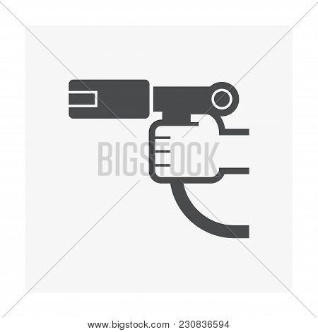 Gas Fuel Nozzle Icon On White, Black Color.