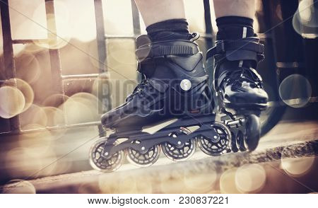 The Roller Skates In The Rays Of The Sun.